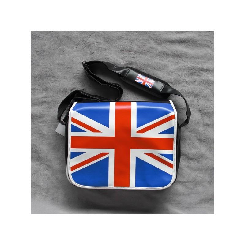 Un sac à bandoulière noir avec rabat et drapeau Angalis   NEUF   f66f0b238d2
