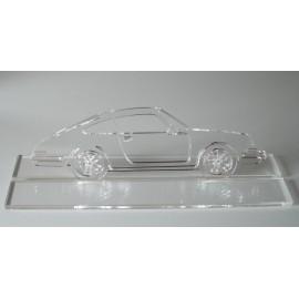 Sculpture Porsche 911 plexiglas avec plateau Taille 60 cm