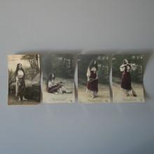 Ancienne carte postale Lot de 4 signé MIGNON