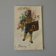 CPA 1er AVRIL carte couleur gaufrée SER 247