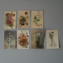 CPA motif de fleurs un Lot de 7 cartes