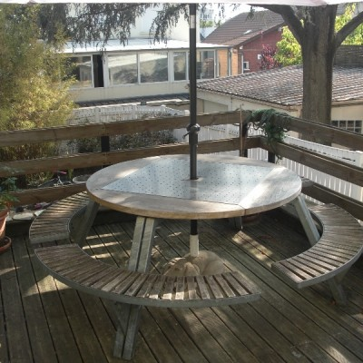 Ce salon de jardin se compose d 39 une table ronde 1 45m et quatre bancs - Table ronde salon de jardin ...