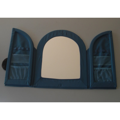 Un Miroir En Textile Bleu Avec 2 Portes Et Des Rangements Marque Ikea